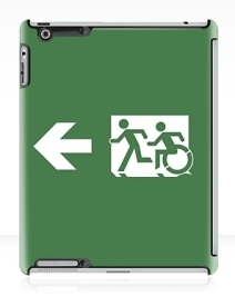 Accessible Means of Egress Icon Exit Sign Wheelchair Wheelie Running Man Symbol by Lee Wilson PWD Disability Emergency Evacuation iPad Case 6