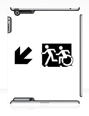 Accessible Means of Egress Icon Exit Sign Wheelchair Wheelie Running Man Symbol by Lee Wilson PWD Disability Emergency Evacuation iPad Case 61