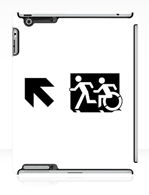 Accessible Means of Egress Icon Exit Sign Wheelchair Wheelie Running Man Symbol by Lee Wilson PWD Disability Emergency Evacuation iPad Case 62