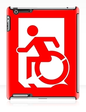 Accessible Means of Egress Icon Exit Sign Wheelchair Wheelie Running Man Symbol by Lee Wilson PWD Disability Emergency Evacuation iPad Case 63