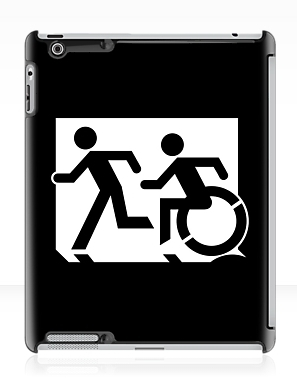 Accessible Means of Egress Icon Exit Sign Wheelchair Wheelie Running Man Symbol by Lee Wilson PWD Disability Emergency Evacuation iPad Case 65