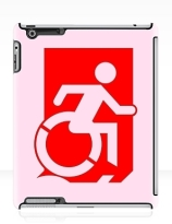 Accessible Means of Egress Icon Exit Sign Wheelchair Wheelie Running Man Symbol by Lee Wilson PWD Disability Emergency Evacuation iPad Case 66