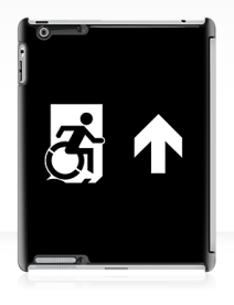Accessible Means of Egress Icon Exit Sign Wheelchair Wheelie Running Man Symbol by Lee Wilson PWD Disability Emergency Evacuation iPad Case 67