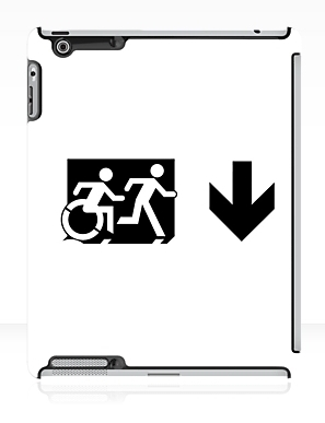 Accessible Means of Egress Icon Exit Sign Wheelchair Wheelie Running Man Symbol by Lee Wilson PWD Disability Emergency Evacuation iPad Case 68