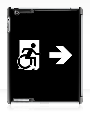 Accessible Means of Egress Icon Exit Sign Wheelchair Wheelie Running Man Symbol by Lee Wilson PWD Disability Emergency Evacuation iPad Case 69