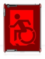 Accessible Means of Egress Icon Exit Sign Wheelchair Wheelie Running Man Symbol by Lee Wilson PWD Disability Emergency Evacuation iPad Case 70