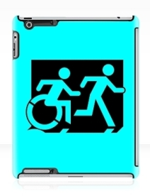 Accessible Means of Egress Icon Exit Sign Wheelchair Wheelie Running Man Symbol by Lee Wilson PWD Disability Emergency Evacuation iPad Case 7