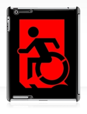 Accessible Means of Egress Icon Exit Sign Wheelchair Wheelie Running Man Symbol by Lee Wilson PWD Disability Emergency Evacuation iPad Case 72