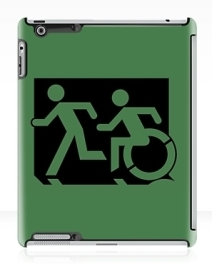 Accessible Means of Egress Icon Exit Sign Wheelchair Wheelie Running Man Symbol by Lee Wilson PWD Disability Emergency Evacuation iPad Case 73