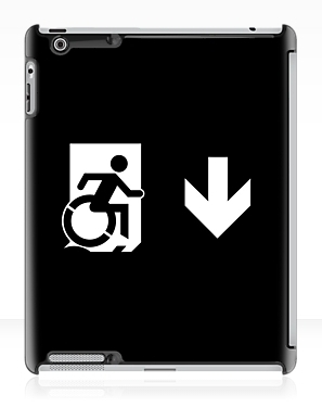 Accessible Means of Egress Icon Exit Sign Wheelchair Wheelie Running Man Symbol by Lee Wilson PWD Disability Emergency Evacuation iPad Case 74