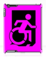 Accessible Means of Egress Icon Exit Sign Wheelchair Wheelie Running Man Symbol by Lee Wilson PWD Disability Emergency Evacuation iPad Case 75