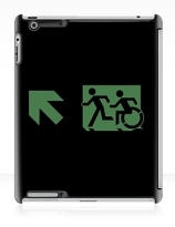 Accessible Means of Egress Icon Exit Sign Wheelchair Wheelie Running Man Symbol by Lee Wilson PWD Disability Emergency Evacuation iPad Case 76