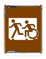 Accessible Means of Egress Icon Exit Sign Wheelchair Wheelie Running Man Symbol by Lee Wilson PWD Disability Emergency Evacuation iPad Case 77
