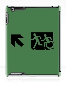 Accessible Means of Egress Icon Exit Sign Wheelchair Wheelie Running Man Symbol by Lee Wilson PWD Disability Emergency Evacuation iPad Case 78