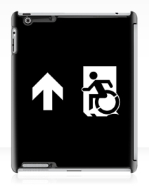 Accessible Means of Egress Icon Exit Sign Wheelchair Wheelie Running Man Symbol by Lee Wilson PWD Disability Emergency Evacuation iPad Case 79