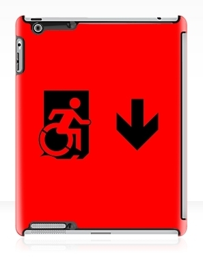 Accessible Means of Egress Icon Exit Sign Wheelchair Wheelie Running Man Symbol by Lee Wilson PWD Disability Emergency Evacuation iPad Case 8