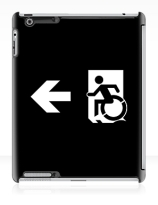 Accessible Means of Egress Icon Exit Sign Wheelchair Wheelie Running Man Symbol by Lee Wilson PWD Disability Emergency Evacuation iPad Case 80