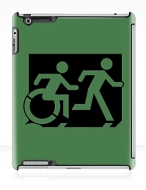 Accessible Means of Egress Icon Exit Sign Wheelchair Wheelie Running Man Symbol by Lee Wilson PWD Disability Emergency Evacuation iPad Case 81