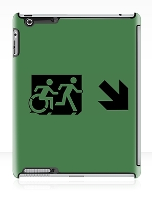 Accessible Means of Egress Icon Exit Sign Wheelchair Wheelie Running Man Symbol by Lee Wilson PWD Disability Emergency Evacuation iPad Case 83