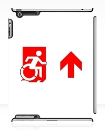 Accessible Means of Egress Icon Exit Sign Wheelchair Wheelie Running Man Symbol by Lee Wilson PWD Disability Emergency Evacuation iPad Case 85