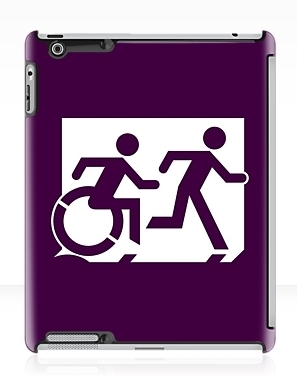 Accessible Means of Egress Icon Exit Sign Wheelchair Wheelie Running Man Symbol by Lee Wilson PWD Disability Emergency Evacuation iPad Case 86