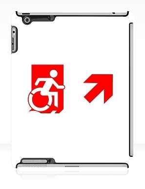 Accessible Means of Egress Icon Exit Sign Wheelchair Wheelie Running Man Symbol by Lee Wilson PWD Disability Emergency Evacuation iPad Case 87