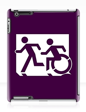 Accessible Means of Egress Icon Exit Sign Wheelchair Wheelie Running Man Symbol by Lee Wilson PWD Disability Emergency Evacuation iPad Case 88