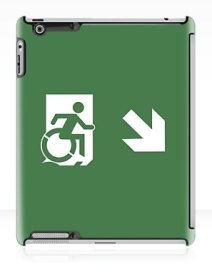 Accessible Means of Egress Icon Exit Sign Wheelchair Wheelie Running Man Symbol by Lee Wilson PWD Disability Emergency Evacuation iPad Case 89