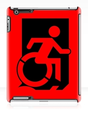 Accessible Means of Egress Icon Exit Sign Wheelchair Wheelie Running Man Symbol by Lee Wilson PWD Disability Emergency Evacuation iPad Case 9