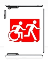 Accessible Means of Egress Icon Exit Sign Wheelchair Wheelie Running Man Symbol by Lee Wilson PWD Disability Emergency Evacuation iPad Case 90