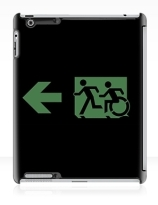 Accessible Means of Egress Icon Exit Sign Wheelchair Wheelie Running Man Symbol by Lee Wilson PWD Disability Emergency Evacuation iPad Case 91