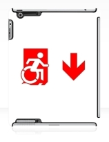 Accessible Means of Egress Icon Exit Sign Wheelchair Wheelie Running Man Symbol by Lee Wilson PWD Disability Emergency Evacuation iPad Case 92