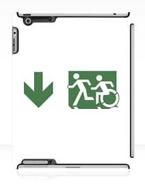 Accessible Means of Egress Icon Exit Sign Wheelchair Wheelie Running Man Symbol by Lee Wilson PWD Disability Emergency Evacuation iPad Case 93