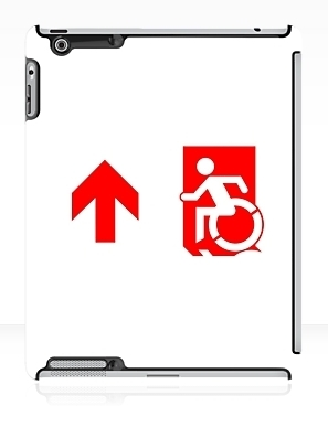 Accessible Means of Egress Icon Exit Sign Wheelchair Wheelie Running Man Symbol by Lee Wilson PWD Disability Emergency Evacuation iPad Case 94