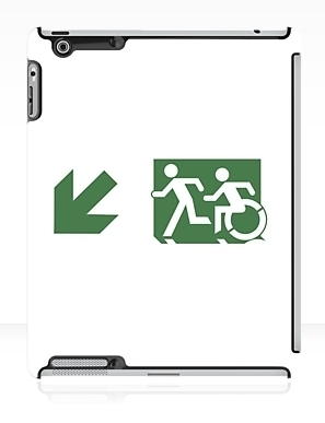 Accessible Means of Egress Icon Exit Sign Wheelchair Wheelie Running Man Symbol by Lee Wilson PWD Disability Emergency Evacuation iPad Case 95