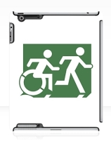 Accessible Means of Egress Icon Exit Sign Wheelchair Wheelie Running Man Symbol by Lee Wilson PWD Disability Emergency Evacuation iPad Case 96