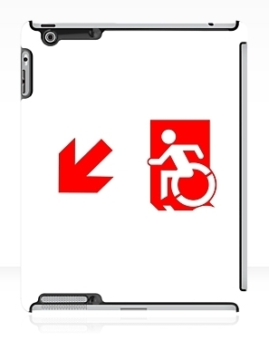 Accessible Means of Egress Icon Exit Sign Wheelchair Wheelie Running Man Symbol by Lee Wilson PWD Disability Emergency Evacuation iPad Case 97