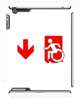 Accessible Means of Egress Icon Exit Sign Wheelchair Wheelie Running Man Symbol by Lee Wilson PWD Disability Emergency Evacuation iPad Case 98