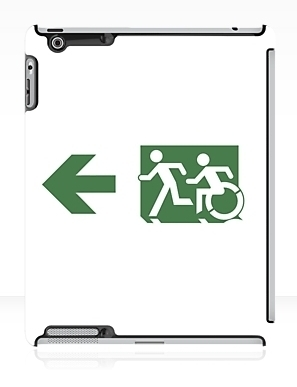 Accessible Means of Egress Icon Exit Sign Wheelchair Wheelie Running Man Symbol by Lee Wilson PWD Disability Emergency Evacuation iPad Case 99