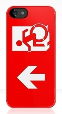 Accessible Means of Egress Icon Exit Sign Wheelchair Wheelie Running Man Symbol by Lee Wilson PWD Disability Emergency Evacuation iPhone Case 10