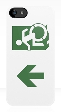 Accessible Means of Egress Icon Exit Sign Wheelchair Wheelie Running Man Symbol by Lee Wilson PWD Disability Emergency Evacuation iPhone Case 100