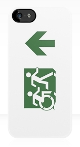 Accessible Means of Egress Icon Exit Sign Wheelchair Wheelie Running Man Symbol by Lee Wilson PWD Disability Emergency Evacuation iPhone Case 101