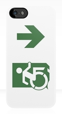 Accessible Means of Egress Icon Exit Sign Wheelchair Wheelie Running Man Symbol by Lee Wilson PWD Disability Emergency Evacuation iPhone Case 102