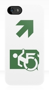 Accessible Means of Egress Icon Exit Sign Wheelchair Wheelie Running Man Symbol by Lee Wilson PWD Disability Emergency Evacuation iPhone Case 103