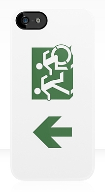 Accessible Means of Egress Icon Exit Sign Wheelchair Wheelie Running Man Symbol by Lee Wilson PWD Disability Emergency Evacuation iPhone Case 104