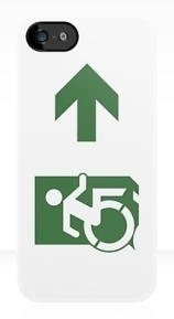 Accessible Means of Egress Icon Exit Sign Wheelchair Wheelie Running Man Symbol by Lee Wilson PWD Disability Emergency Evacuation iPhone Case 105