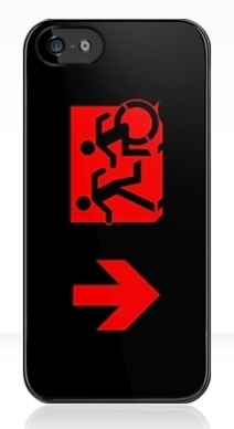 Accessible Means of Egress Icon Exit Sign Wheelchair Wheelie Running Man Symbol by Lee Wilson PWD Disability Emergency Evacuation iPhone Case 106