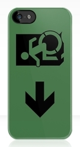 Accessible Means of Egress Icon Exit Sign Wheelchair Wheelie Running Man Symbol by Lee Wilson PWD Disability Emergency Evacuation iPhone Case 107