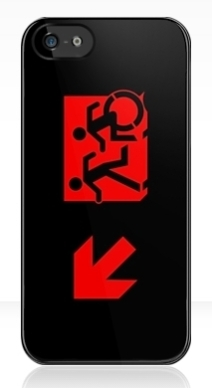 Accessible Means of Egress Icon Exit Sign Wheelchair Wheelie Running Man Symbol by Lee Wilson PWD Disability Emergency Evacuation iPhone Case 108