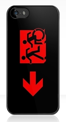 Accessible Means of Egress Icon Exit Sign Wheelchair Wheelie Running Man Symbol by Lee Wilson PWD Disability Emergency Evacuation iPhone Case 109